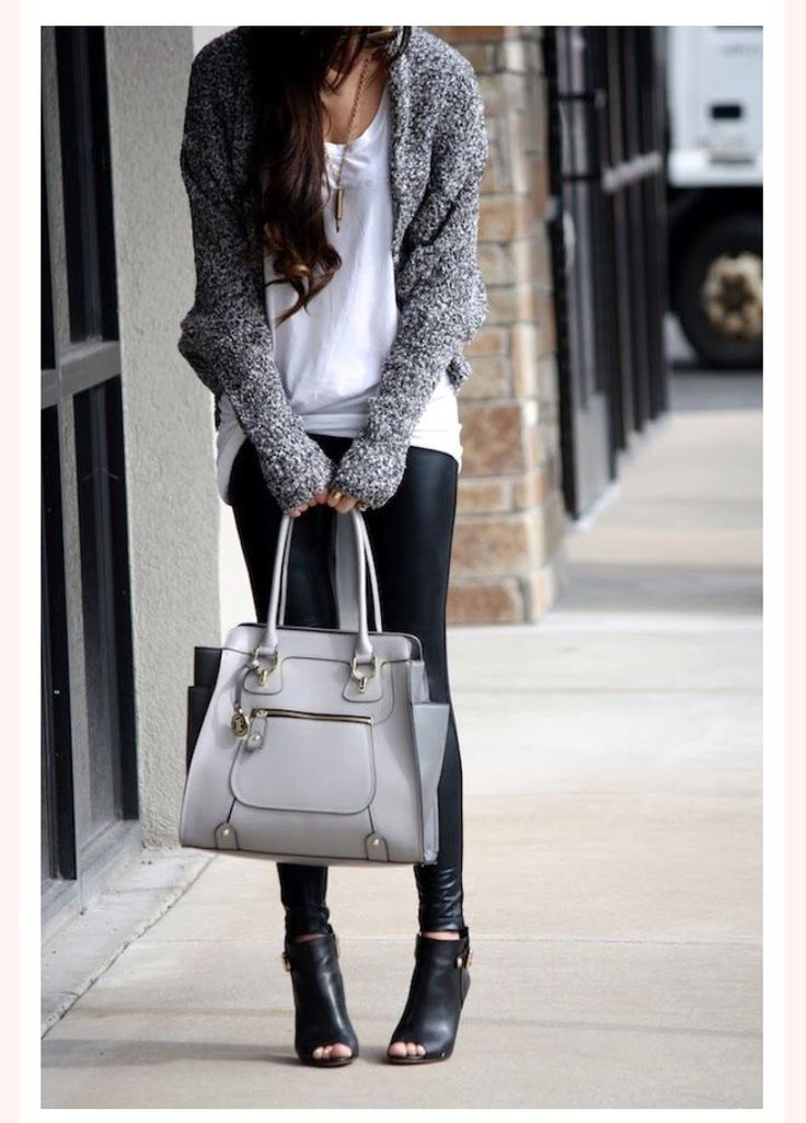 Long/oversized white tshirt under a cozy cardigan with leather tights