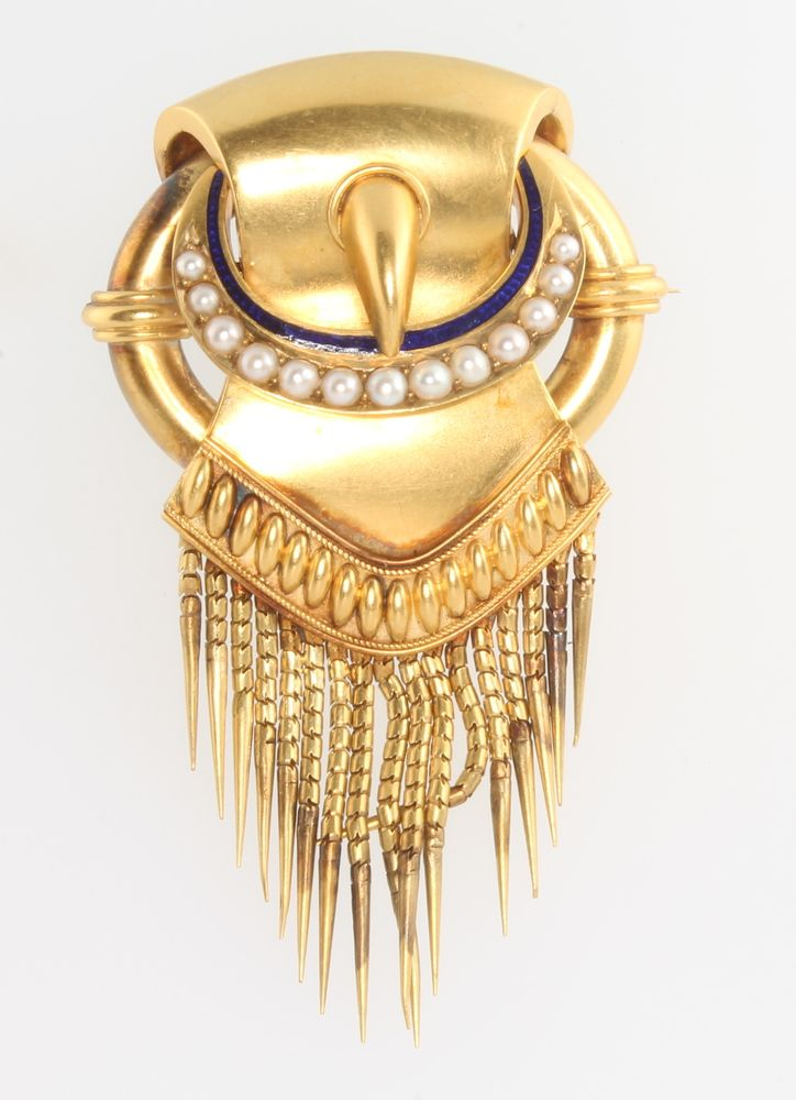 Lot 672, An Edwardian 15ct yellow gold etruscan style tassel  buckle brooch set with seed pearls and blue enamel, 18 grams, est £200-300