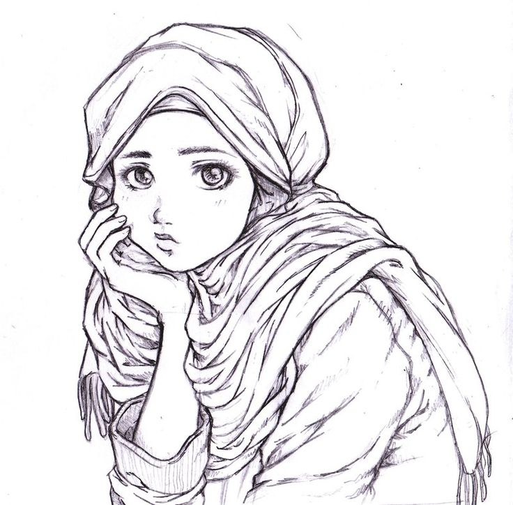 Thinking Muslim Girl (Drawing)