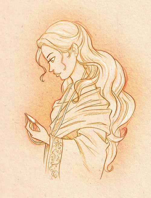 "Medieval Girl, illustration, drawing / Ragazza Medievale, Medioevale, illustrazione disegno - Art by Katikut on deviantART, ""Aelys"""