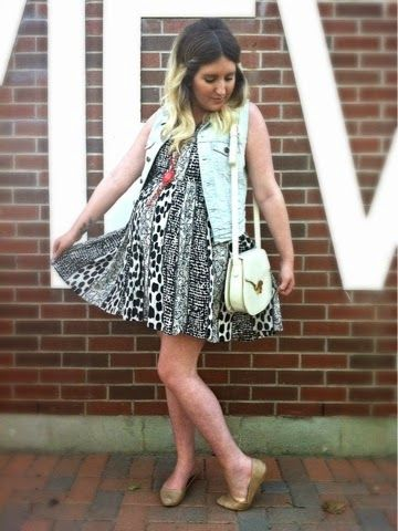 Park View | Liv.vie In Love Denim vest, printed baby doll dress, nude flats, vintage white bag, and layered necklaces. Maternity outfit, maternity style, maternity fashion, pregnancy style, pregnancy fashion, baby bump style, baby bump, 35 weeks, ootd, wiwt, blogger, fashion stylist.