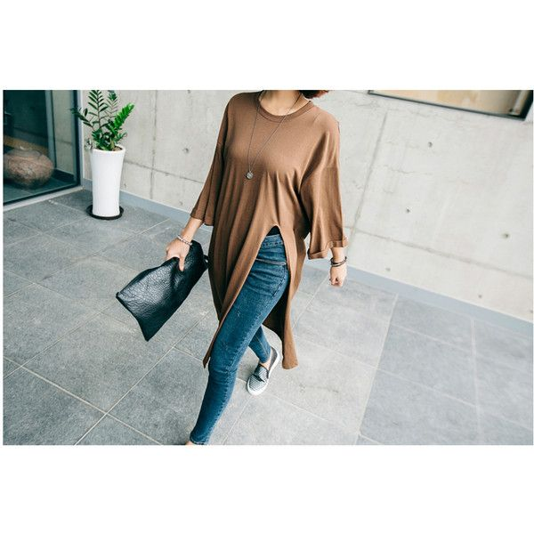 3/4-Sleeve Slit-Front T-Shirt Dress ($23) ❤ liked on Polyvore featuring dresses, tee dress, tshirt dress, 3/4 sleeve dress, front slit dress and three quarter sleeve dress