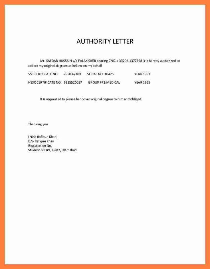 authorization letter sample receive documents thorization