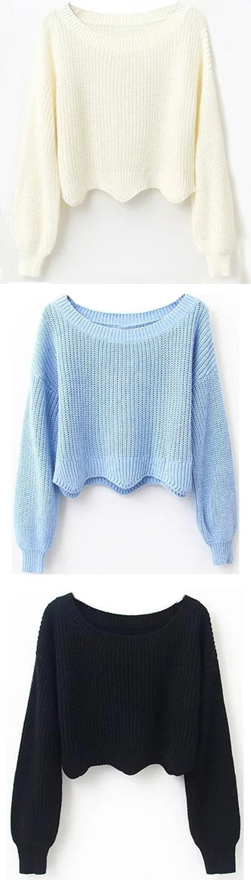 Up to 10% off for pre-orders! This flattering sweater crop top with wave hem&drop shoulder gonna make you feel at the top of the world! Show off with it Now!