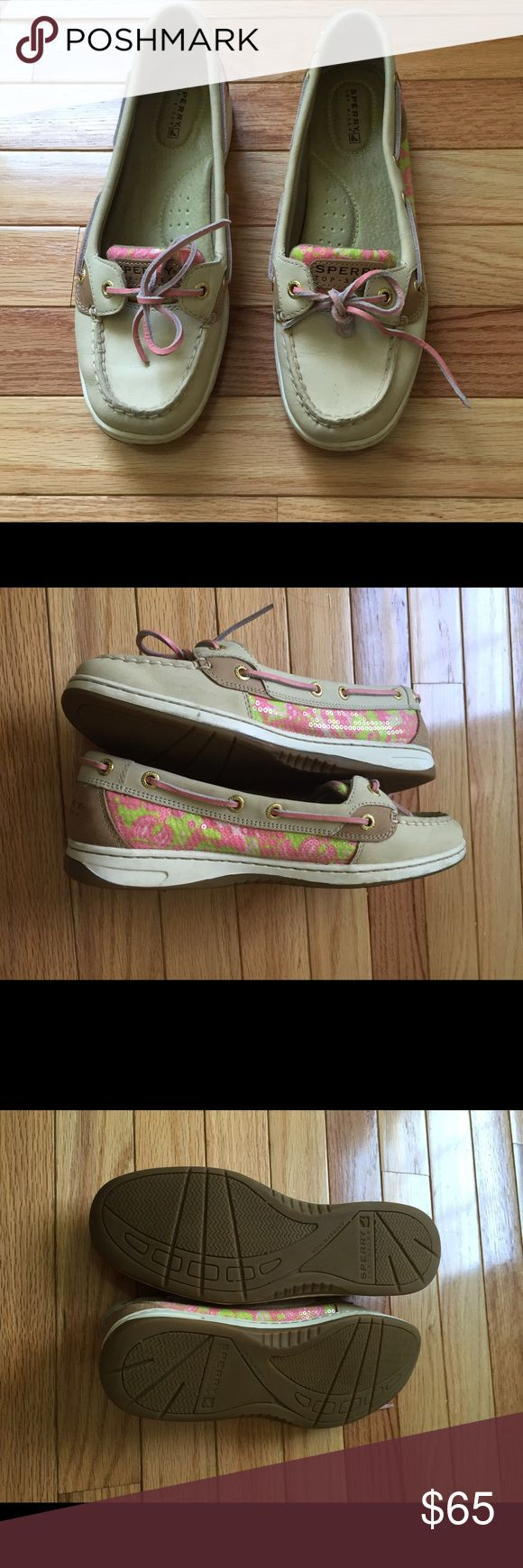 🌼 Pretty Sperry top-siders 🌼 Like new Sperry top-siders. Pretty pink and green sequin design Sperry Top-Sider Shoes