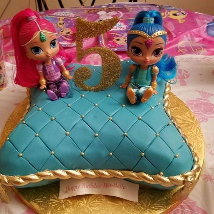 Shimmer and Shine Pillow Birthday Cake for Mia Bella ✨ w/ @mell_cakes #shimmerandshine #birthday ...