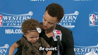 When she politely asked her dad to keep it down a tad. | 30 Of The Absolute Cutest Riley Curry Moments