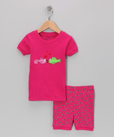 Take a look at this Magenta Kiss Pajama Set - Infant, Toddler & Kids by Leveret on #zulily today!