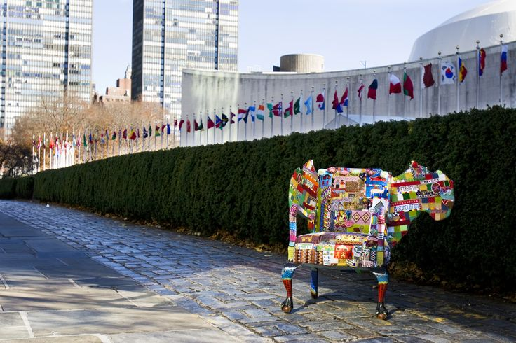 """Taken by Photographer Dominic Ronzo  """"We dream of preserving world peace, promoting self-determination, aiding economic and social well-being around the globe."""" United Nations, NY . Made by Woza Moya crafters. Hillcrest AIDS Centre Trust  www.hillaids.org.za"""