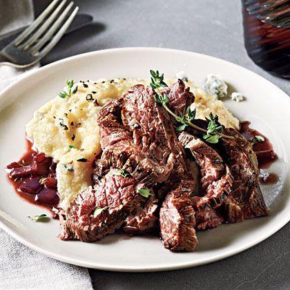 Skirt Steak with Gorgonzola Polenta by cookinglight #Skirt_Steak #Gorgonzola #Polenta