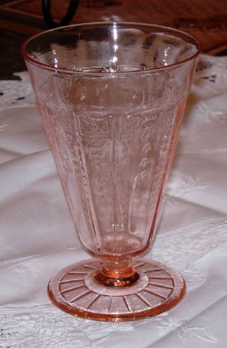 Depression Glass Price Guide: Princess, Hocking Glass Company, 1931-1935. Footed Tumbler - Pink. Value: $25-30.