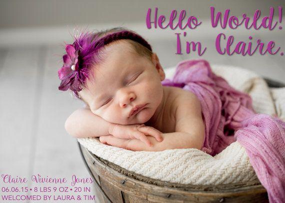 Birth Announcement - Photo Birth Announcement - Custom Birth Announcements - Birth Announcement Cards - Birth Announcements, Hello World