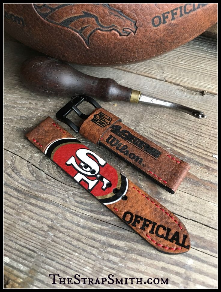 Custom 49'ers football strap! Here are 5 more teams to