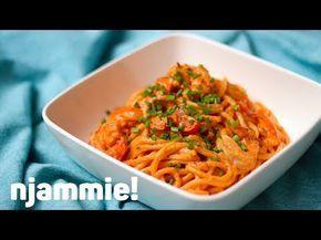 """Recept """"Pasta met scampi in tomatenroomsaus""""   njam!"""