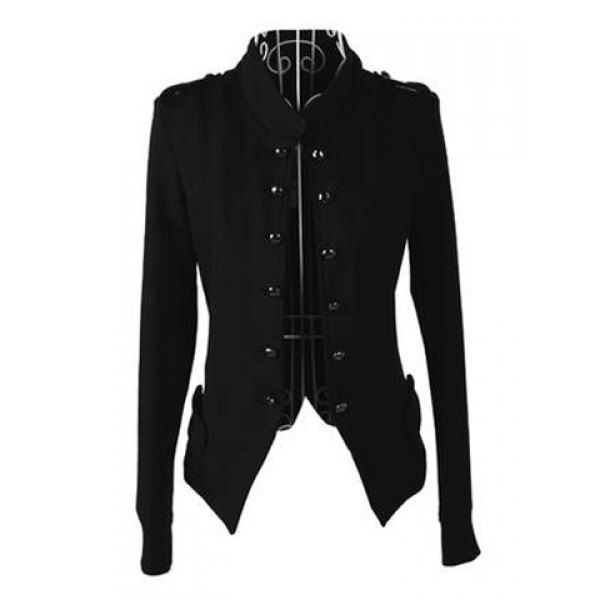 Long Sleeves Stand Collar Double-breasted Slit Epaulets Asymmetrical Hem Elegant Women's Coat