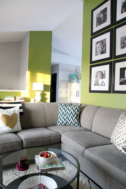 20 best images about grey sofa green wall on pinterest for Gray walls what color furniture