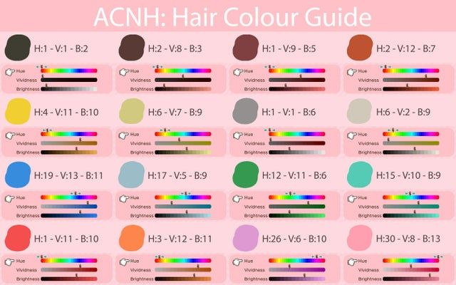 I Made A Guide For Matching Your Hair Colour Acqr In 2020 Animal Crossing Hair Animal Crossing Hair Guide Animal Crossing