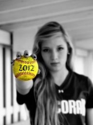 senior girl softball picture ideas - Google Search             I think this would be good with either a volleyball or Soccer ball