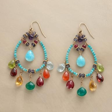 """GEMSTONE MELANGE EARRINGS -- Thoi Vo adorns beaded turquoise hoops with gemstones of amethyst, peridot, garnet, citrine, green onyx, ruby, carnelian, blue topaz and iolite in celebration of cultural diversity. Handcrafted in USA with 14kt goldfilled French wires. Approx. 3""""L."""