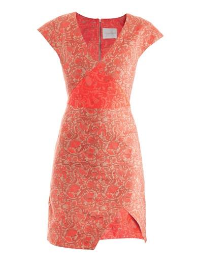 Triangle sleeve jacquard dress