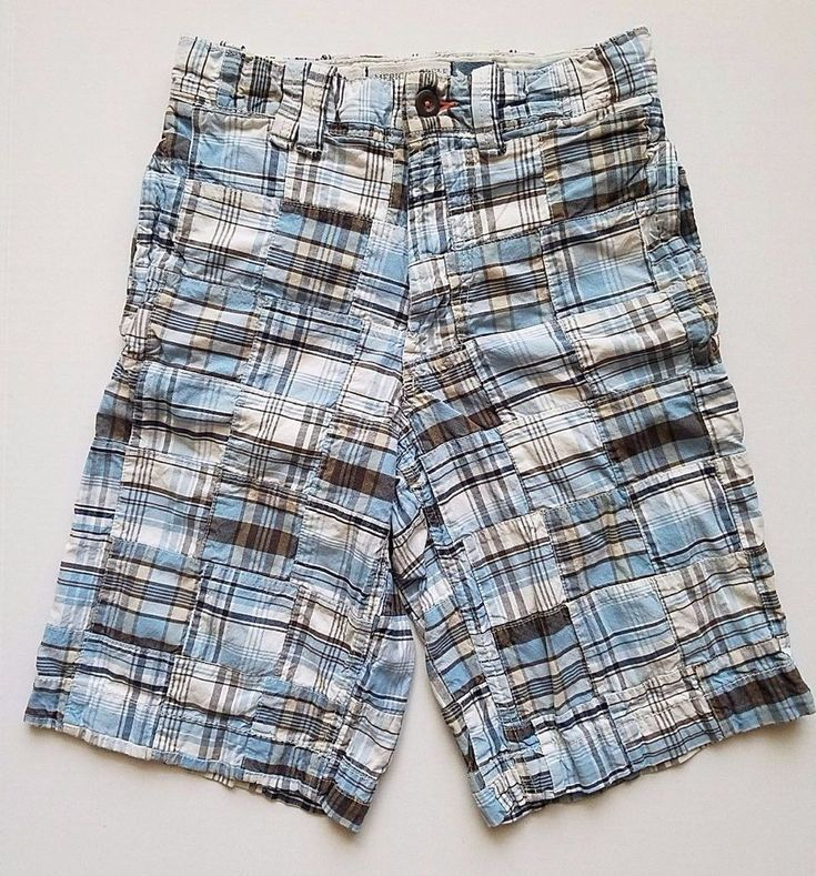 Longer Length Patchwork Plaid Shorts Mens Size 26 American Eagle Outfitters Long #AmericanEagleOutfitters #CasualShorts