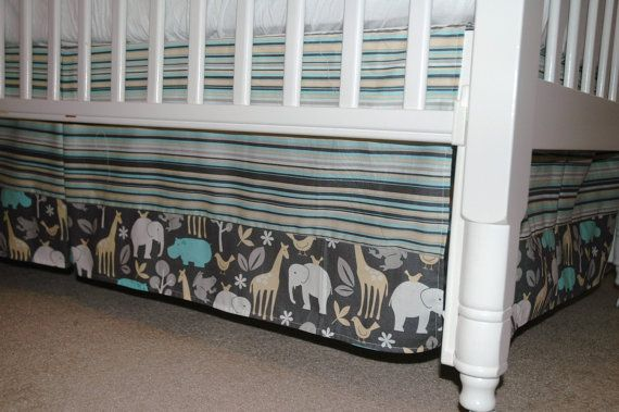 Baby Crib Skirt, Paneled, 2 fabrics with Pleats, Michael Miller Zoology with Play Stripe in Blue (Sea) or Pink (Bloom).