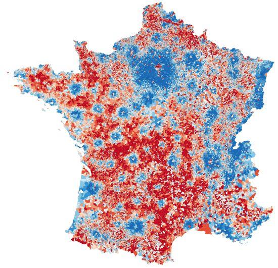 D'après les données de l'Insee sur la répartition des revenus, les français riches sont de couleur bleue, les français pauvres, de couleur rouge.