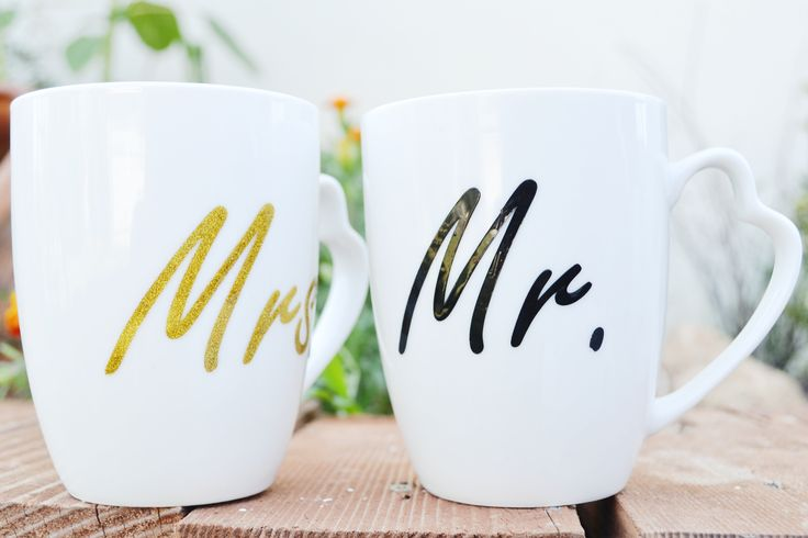 Porcelain handmade white mugs for couples. Find them in ETSY. White hand-painted mugs for him and her.  Buy them for 15.90€ Ships in all European Union countries. Mugs for gift Quote mugs Funny mugs Pretty, cute mugs Mrs and Mr