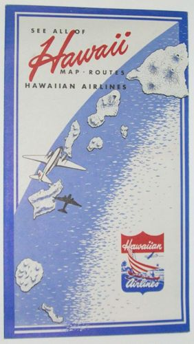 RARE 1948 HAWAIIN AIRLINES Brochure Map Routes Vintage Travel Booklet  AVAILABLE!!!  reedtoys@aol.com