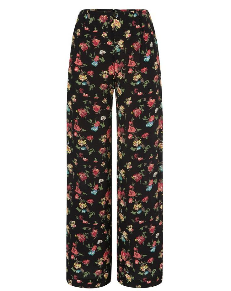 Edina Ronay Black Floral Palazzo Pants - perfect for the 70s and floral trends of SS15.