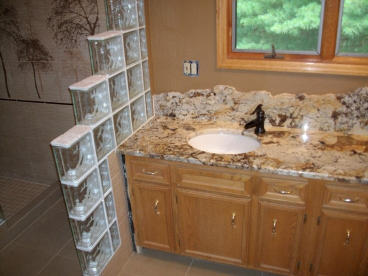 Delicatus Gold Granite   Love The Raw Edge For The Backsplash.NOT The Glass  Block   Yuck.