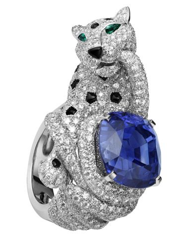 Cartier Panthère Ring, platinum, 24.46-carat cushion-shaped sapphire, onyx spots and nose, emerald eyes, diamonds