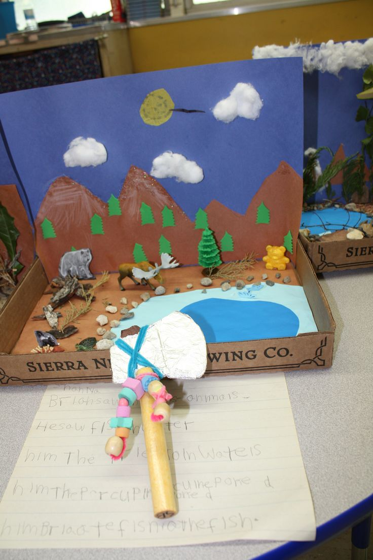 This student chose animals to create a diorama with. She ...