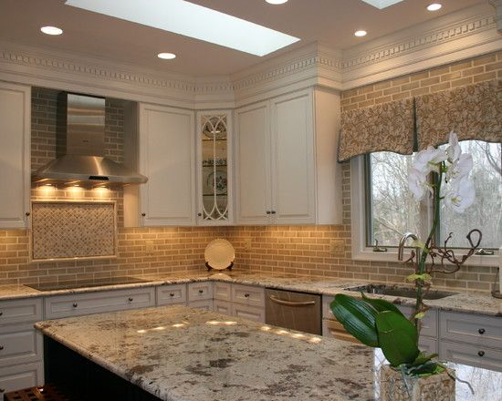Kitchen Design, Conventional Kitchen Island Design With Alaskan White Granite  Countertops Also White Classic Kitchen Cabinets And Grey Tiling Backsplash  And ...