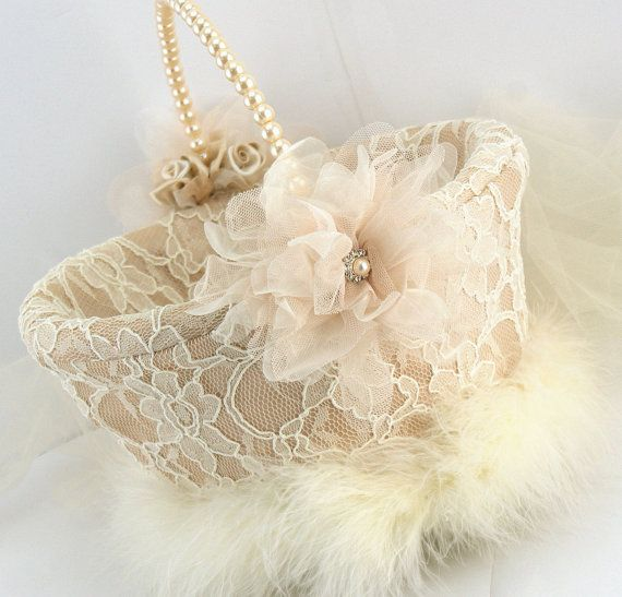 Flower Girl Basket - Bridal Basket in Lace in Champagne, Nude and Ivory with Feathers - My dream wedding on Etsy, $125.00