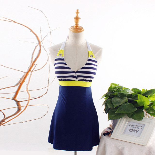 New Sexy Stripe Plus Size Padded Navy Blue Halter Skirt Swimwear Women One Piece Swimsuit Beachwear Bathing Suit