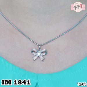 Perhiasan Kalung Lapis Emas 18k  Pita Silver M 1841