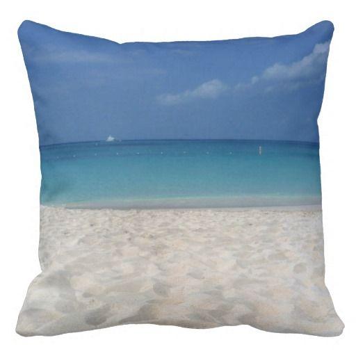 Seven Mile Beach Cayman Islands - Pillow  #CaymanIslands #Caribbean #Cayman #Pillow #Beach #CaribLoveDesigns