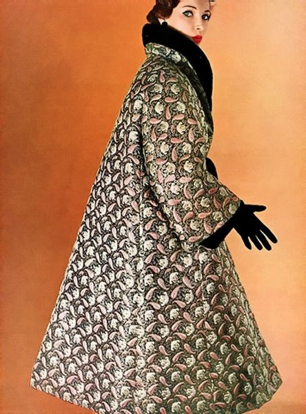 Christian Dior Evening Coat, 1954.1950s fashion