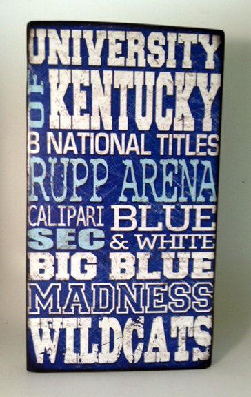 University of Kentucky Basketball Wood Sign-Go Wildcats.