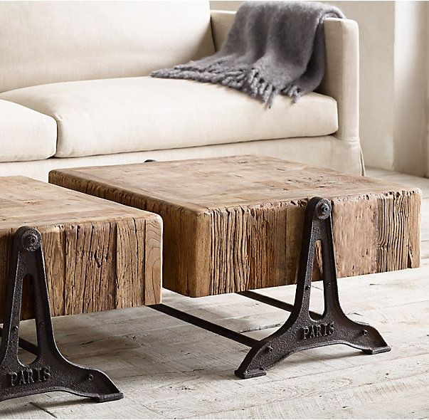 RH's Reclaimed Russian Pine Industrial Coffee Table:Low To