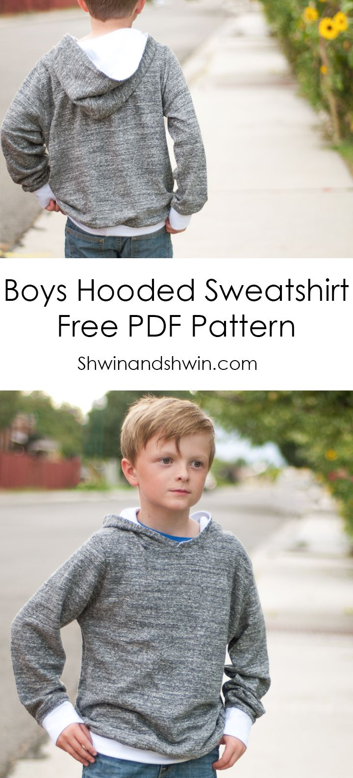 Boys Hooded Sweatshirt || Free PDF Pattern || Shwin&Shwin