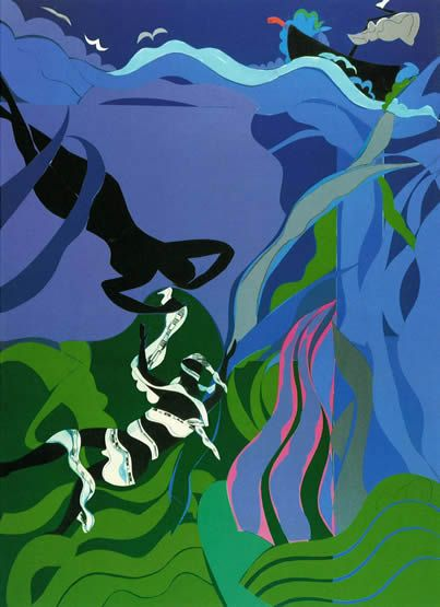 """Romare Bearden, The Sea Nymph  Just saw this at the exhibit """"A Black Odyssey"""""""