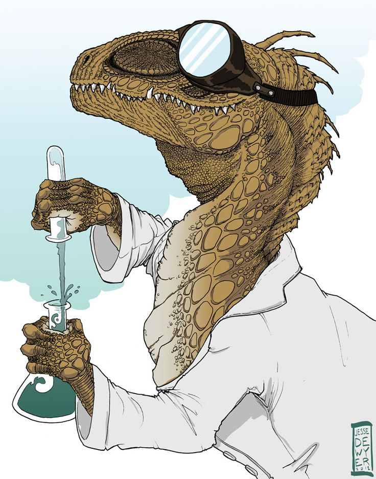"This is my Dr. Dinosaur (from the comic series ""Atomic Robo"") fan art! He's doing science! © Jesse Dewyer 2013"