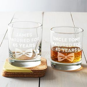 Personalised 'Dickie Bow' Whisky Glass - gifts for him