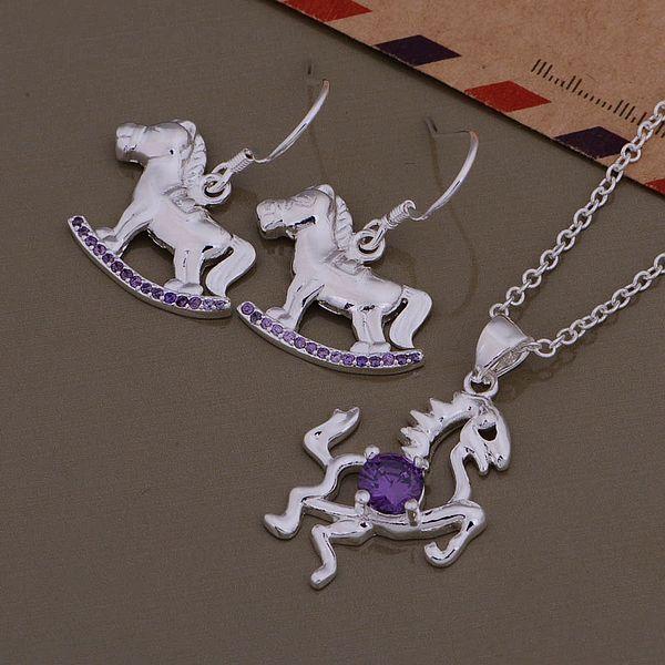 Роскошные Женщины Красочные Австрийский хрусталь hourse Ожерелье + Серьги Старинные Ювелирные Изделия устанавливает Бесплатная Доставка AT405