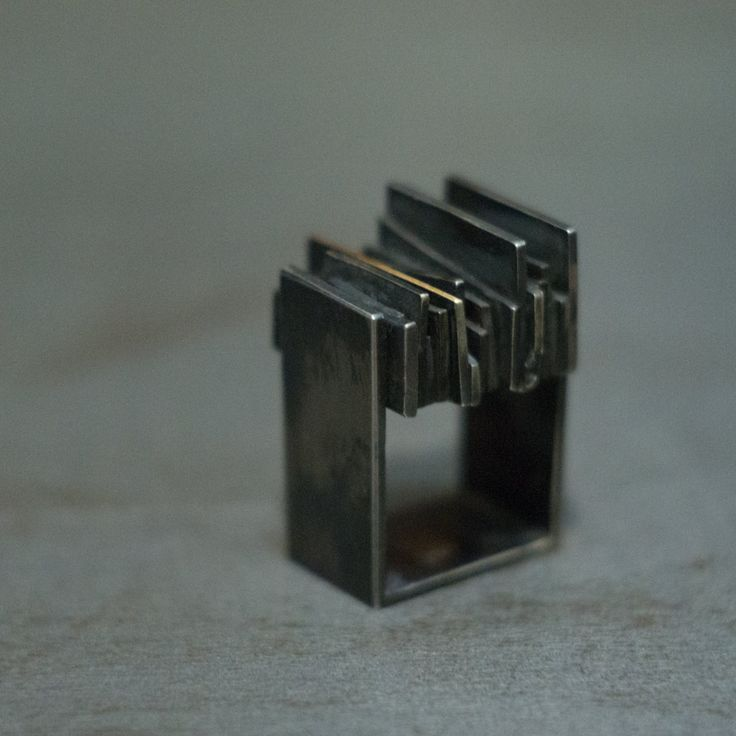 Black Oxidized Silver and 14K Gold Square Ring by Alexey Cherkasov #wdhmachinery #wildhornjewelry