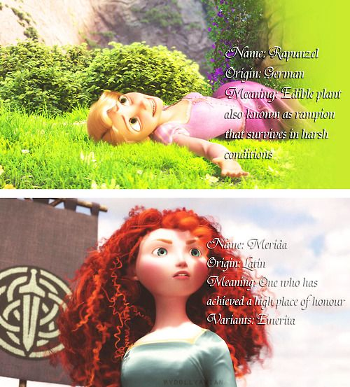 Analogies behind Rapunzel and Merida. I like how both of there names represent them in some way