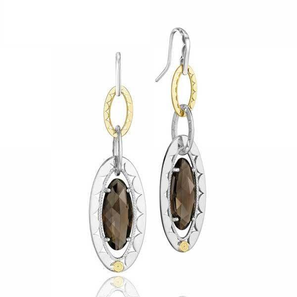 Tacori Truffle Smoky Quartz Oval Loop Earrings ($430) ❤ liked on Polyvore featuring jewelry, earrings, tacori jewelry, oval earrings, tacori, dangle earrings and loop earrings
