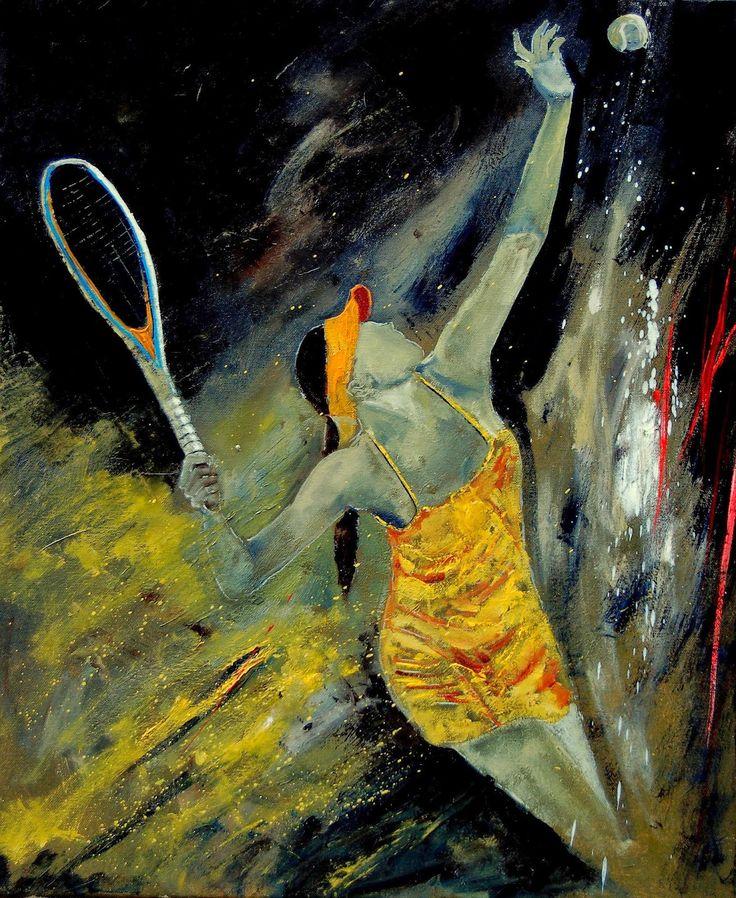 Картинки по запросу gallery-wrapped canvas art print 11 x 13 entitled tenniswoman by pol ledent